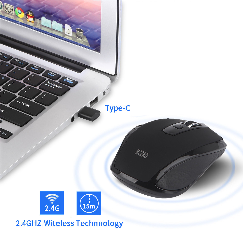US $7 18 20% OFF|MODAO 2 4GHZ Type C Wireless Mouse USB C Mice for Macbook/  Pro USB C Devices for dropshiping 20180829-in Mice from Computer & Office