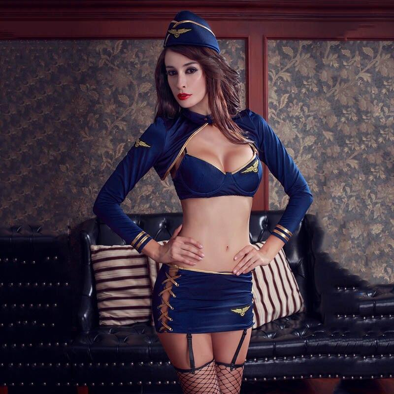 Buy Lenceria Sexy Erotic Exposed Waist Cosplay Stewardess Costume Women Sexy Temptation Uniform Sexy Costumes Adults Hot