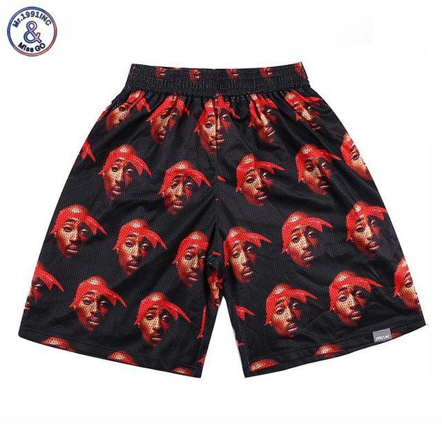 3c2dd02e3 Mr.1991INC Hip Hop shorts men 3d print Rap singer 2PAC Tupac 3d shorts mesh