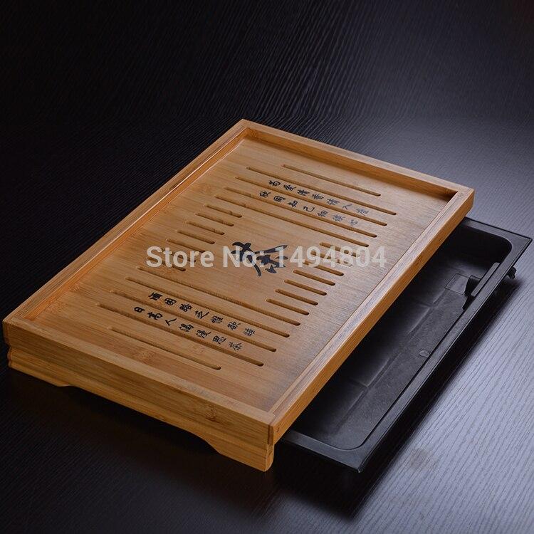 Thé Plateau De Haute Qualité Classique Style 43 cm * 28 cm * 6.5 cm Bambou Plateau de Thé Sculpté, exquis Office Du Thé En Bambou Thé Ensemble