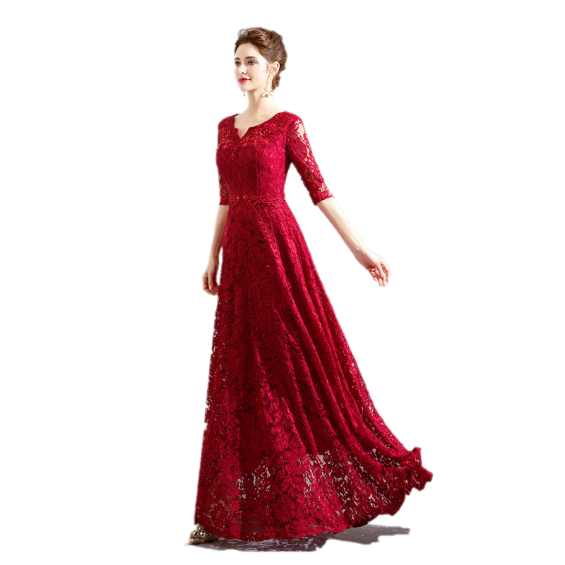 Beauty Emily Custom-made Long Red Lace Evening Dresses 2019 V-Neck A- 72720723a5c9