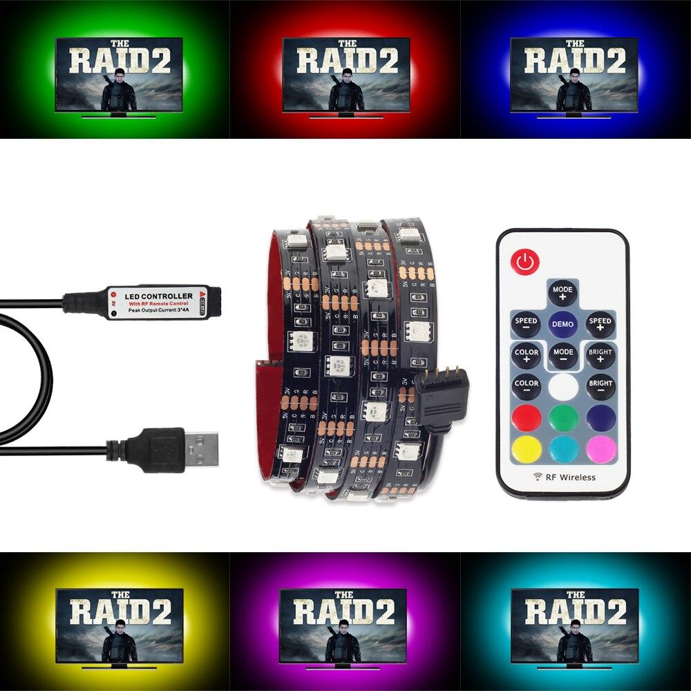 USB LED Strip Light RGB 1M 2M TV Background Lighting with 17Key Remote control LED strip 5050 RGB Flexible Strip Light