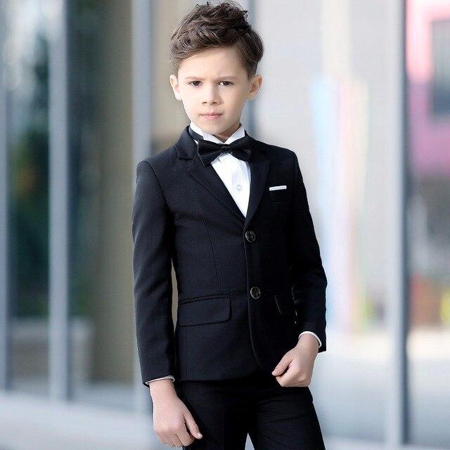 c06e9c9d0d229 2018 Latest Coat Pant Designs Black Formal Boy Suit 2pieces(Jacket+Pants+Tie)  Prom Wedding Slim Fit Kids Blazer Tuxedos 346