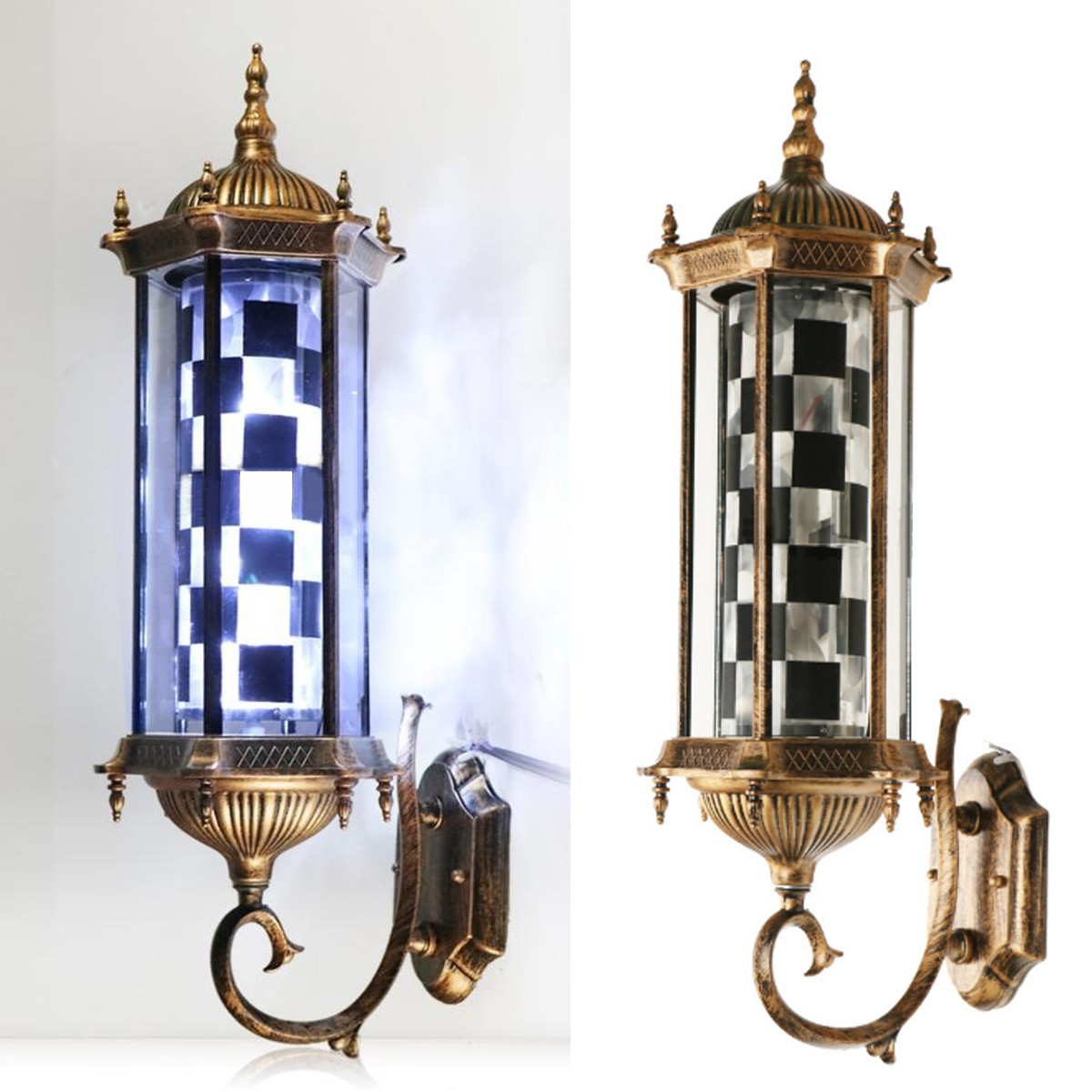 220V LED Salon de coiffure signe luminaire noir blanc rétro Design Roating Salon tenture murale lampe de Salon de beauté lampe nouveau