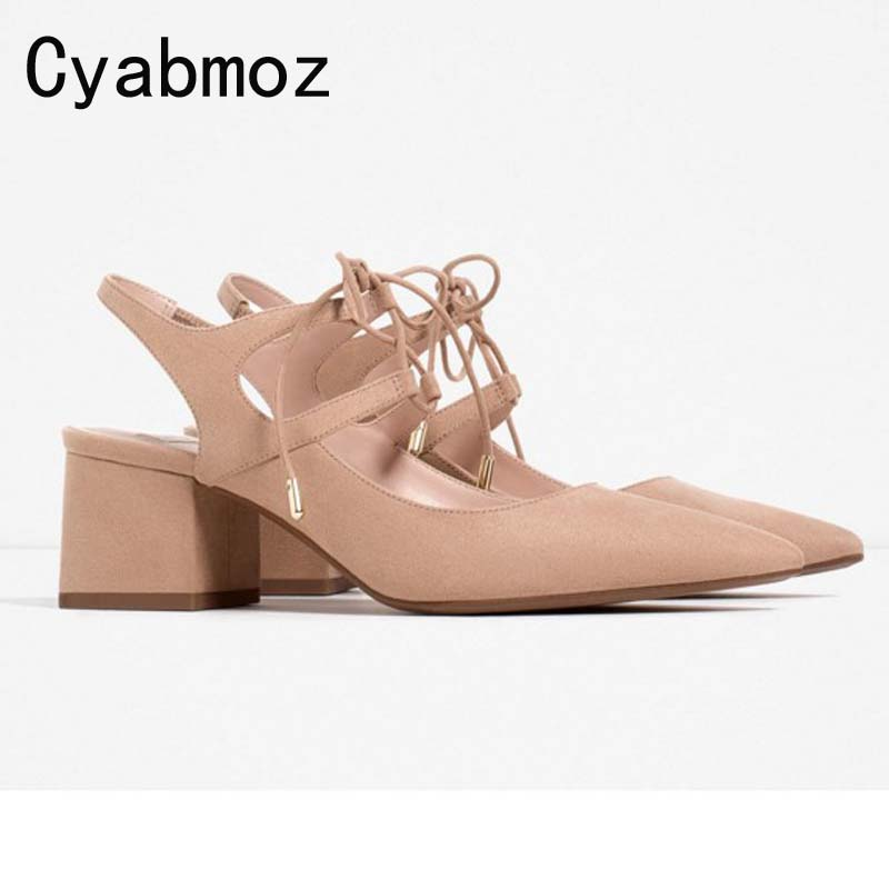 Cyabmoz Women Sandals Pointed Toe High Heels Closed Toe Ankle Strap Shoes Woman Thick Heel Plus Size 43 Gladiator Sandals Female summer new pointed thick chunky high heels closed toe pumps with buckle ankle wraps sweet sandals women pink black gray 34 40