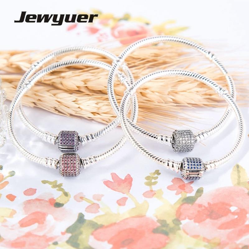 Genuine 925 Sterling Silver Snake Bracelet Moments Pave Clip Clasp fit charms beads DIY charm bracelets