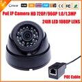 HD 720 P 960 P 1.0/1.3 Мегапиксельная IP Камера PoE HI3518E + OV9712 с 1080 P Объектив Ик-Фильтр PoE Кабель Безопасности Купольная Камера