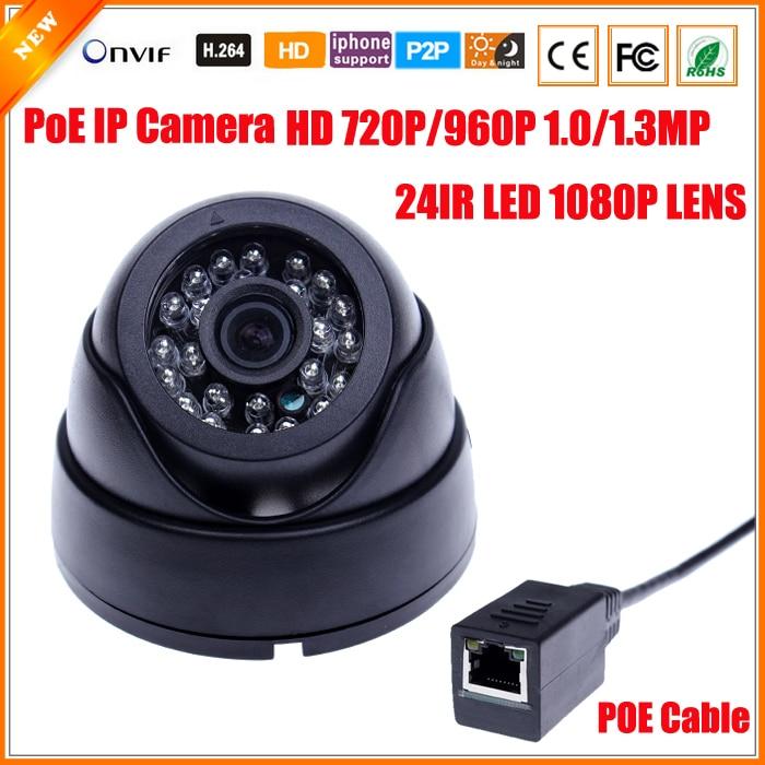 imágenes para HD 720 P 960 p 1.0/1.3 Megapíxeles de Cámara IP PoE HI3518E + OV9712 con 1080 P de la Lente de Filtro de Corte IR PoE Cable Cámara Domo de Seguridad