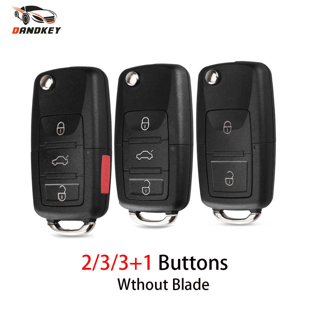 Dandkey 2 3 3+1 Buttons For VW Golf 4 5 Passat B5 B6 Polo Touran For Seat For Skoda Folding Flip Remote Key Shell Without Blade