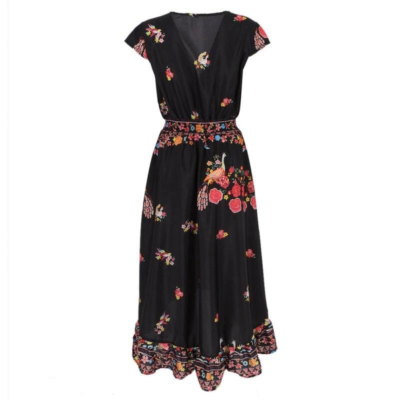 Девушки Летние Цветочные Сарафан Boho Винтаж длиной макси Вечеринка пляжное платье Лидер продаж T6