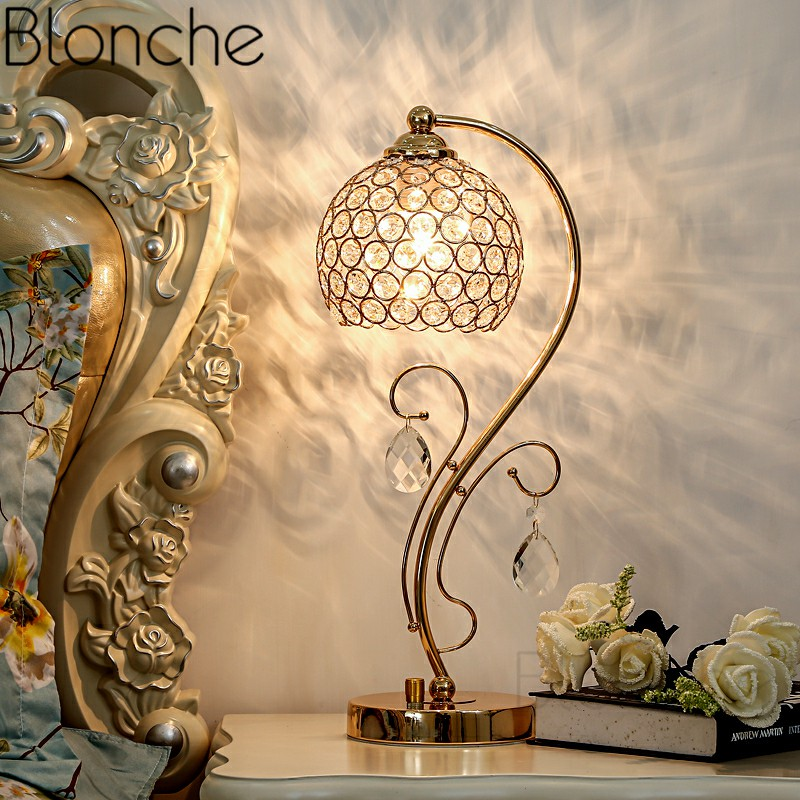 Nordic Modern Crystal Table Lamps Led Stand Desk Light for Living Room Bedroom Home Decor Iron Art Bedside Reading Fixtures E27Nordic Modern Crystal Table Lamps Led Stand Desk Light for Living Room Bedroom Home Decor Iron Art Bedside Reading Fixtures E27