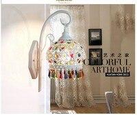 Free Shipping Tiffany Wall Lamp European Bedroom Lamp Color Crystal Sconce Lamparas Luminaria E27 110 240V AC 100% Guaranteed