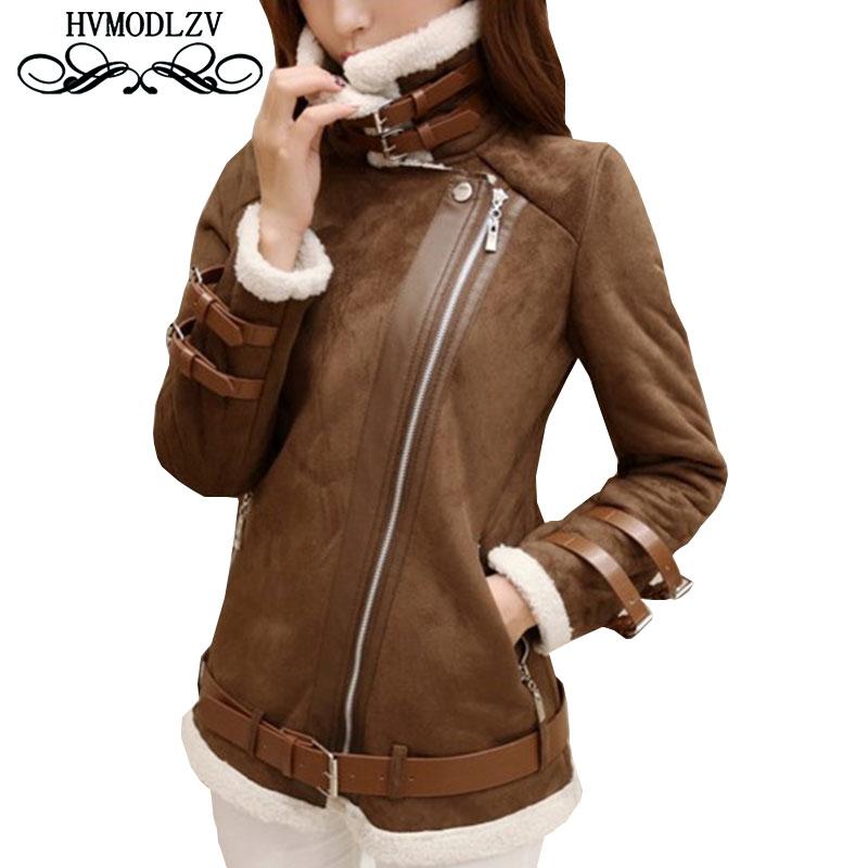 Bomber Jacket Bts Winter Women Jacket Imitation Deerskin Leather Lamb Hair Coats Fashion Pius size Jaqueta