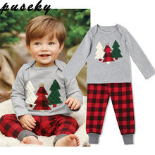 1a7ab0225 Puseky Christmas Tree Print Long Sleeves Top T-shirt+Plaide Pants 2pcs Xmas  Clothes Set 1-6Y Toddler Kids Baby Boy Girl Outfits