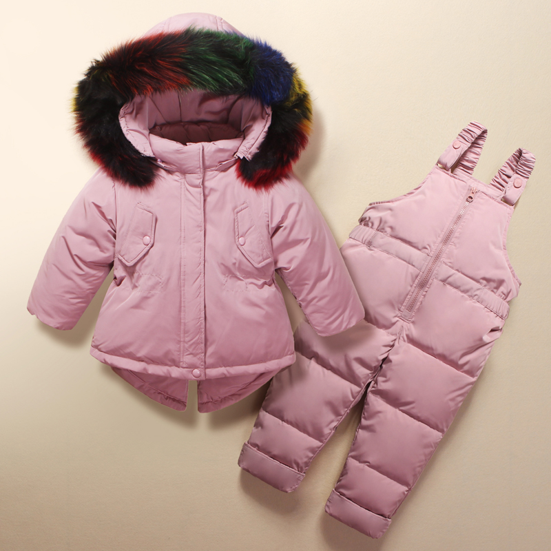 9e8d795a8 2018 Winter Children Clothing Sets for Girls Warm Duck Down Jacket ...