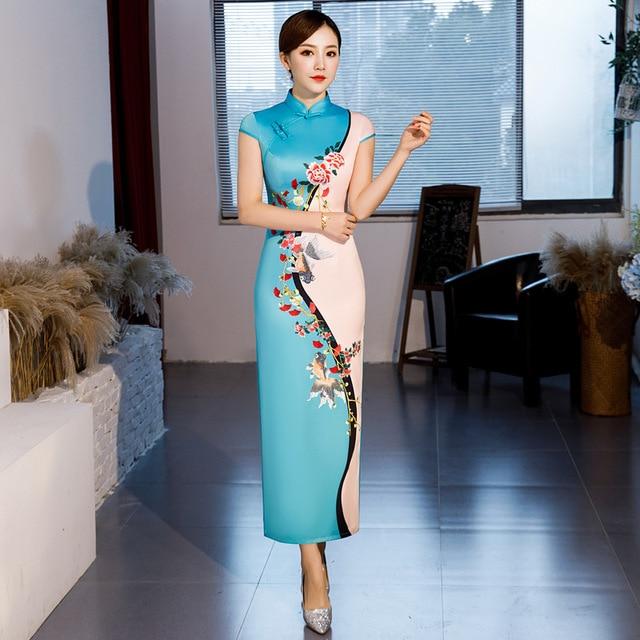 Hot Sale Traditional Chinese Women Long Dress Summer New Silk Satin Qipao Sexy Slim Printed Cheongsam Plus Size M L XL XXL XXXL