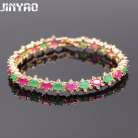 JINYAO Luxury High Quality Oval Green&Red Gold Color Bracelets AAA Cubic Zirconia Chain Bangle Party Gift 2colors