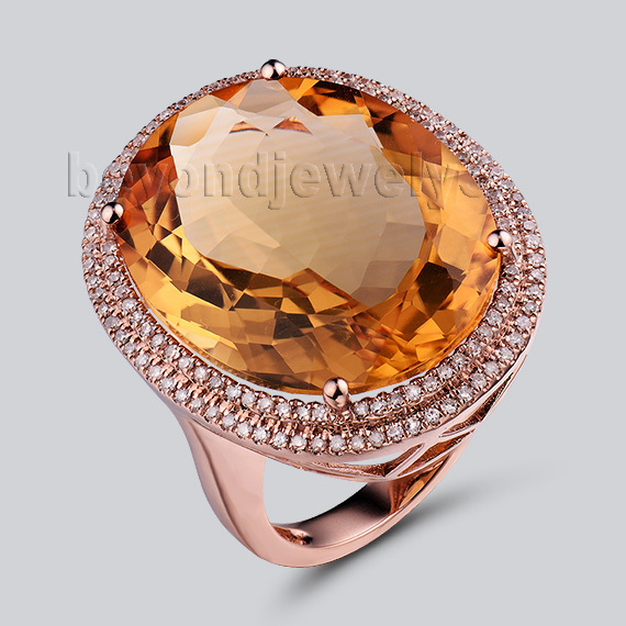 Natural Citrine Jewelry Genuine Citrine Diamond Engagement Rings 14Kt Rose Gold Wedding Ring For Sale R0014 vintage solid 14kt yellow gold natural diamond two engagement wedding band ring for women fine jewelry anniversary gift r0014