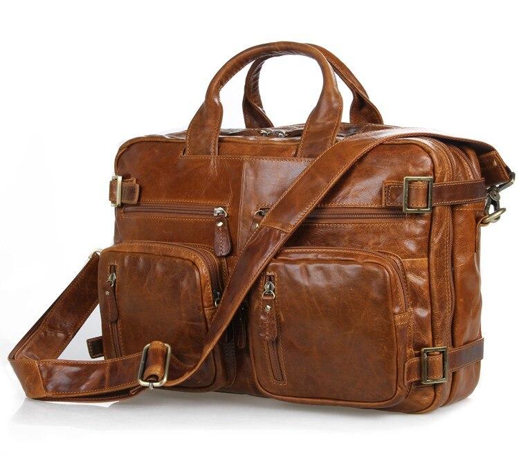 Augus Genuine Vintage Leather Brown Men's Briefcase Multi-Compartment Design Unique Style Special Laptop Bag Shoulder Bag 7026B
