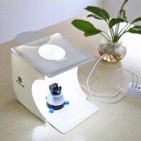 PULUZ PU5022 Compact Składana Konstrukcja Mini Mały Rozmiar LED Studio Fotografii Box Z 2 sztuk DOPROWADZIŁY Światło dla LUSTRZANKI/Aparat cyfrowy