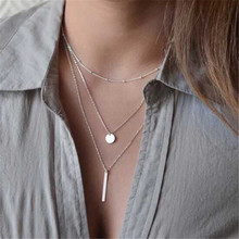 Simple Womens Fashion Jewelry Collar European Gold Silver Plated Multi Layers Bar Coin Necklace Clavicle Chains