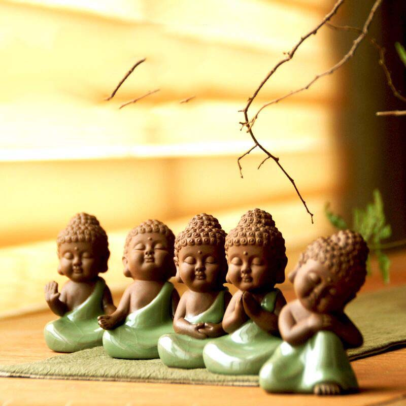 Ceramic crafts creative home decoration living room feng shui ornaments cute little Buddha Zen like pots furnishings