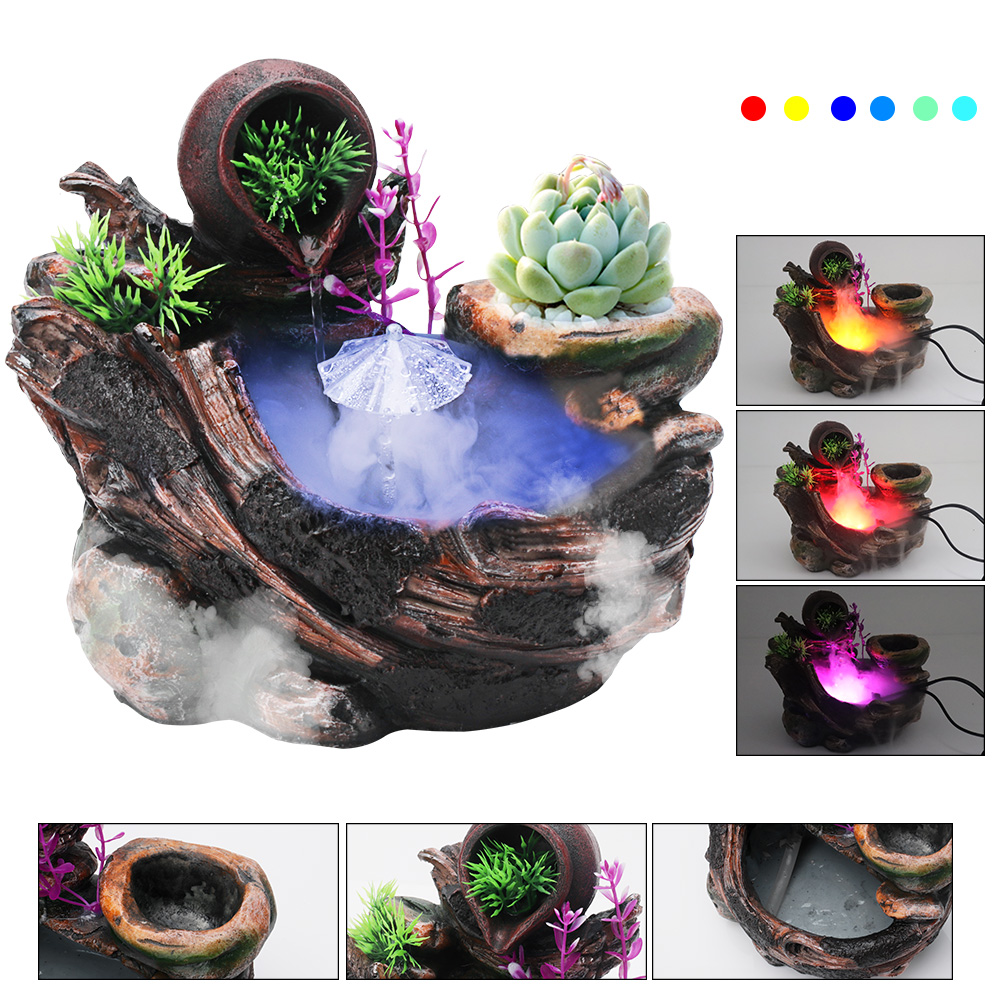 BORUiT Indoor Artificial Landscape Desktop Simulation Resin Rockery Water Fountains Colorful Lights Office Home Garden Crafts