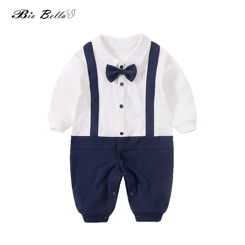 Newborn Baby   Rompers   Gentle Boys Clothes Formal Kids Infant Clothing Bowtie Jumpsuits White Blue Kids Outfits 0-18M