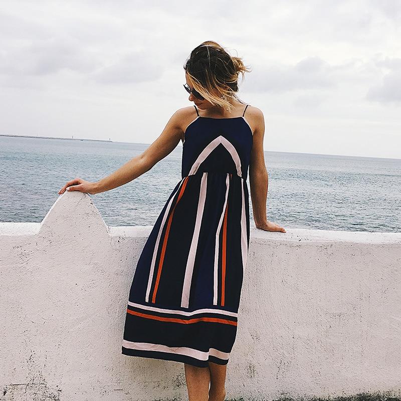 Hot sales Floral Print Boho Women Backless High Waist Summer Dress Vintage Beach Sling Hit color stripe Dress Sundress Vestidos