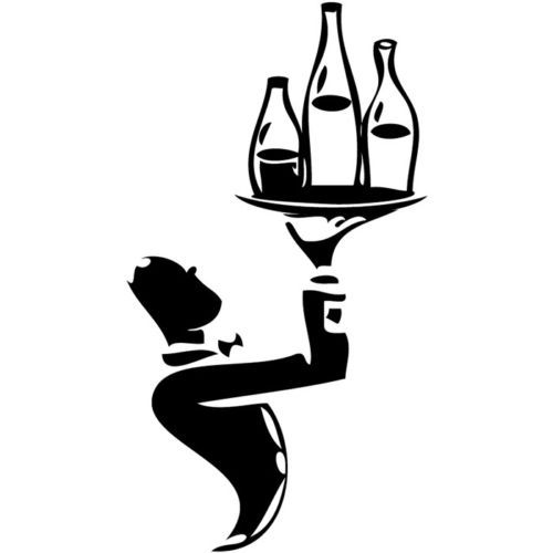 Waiter With Wine Bottles Vinyl Wall Decal Kitchen Food
