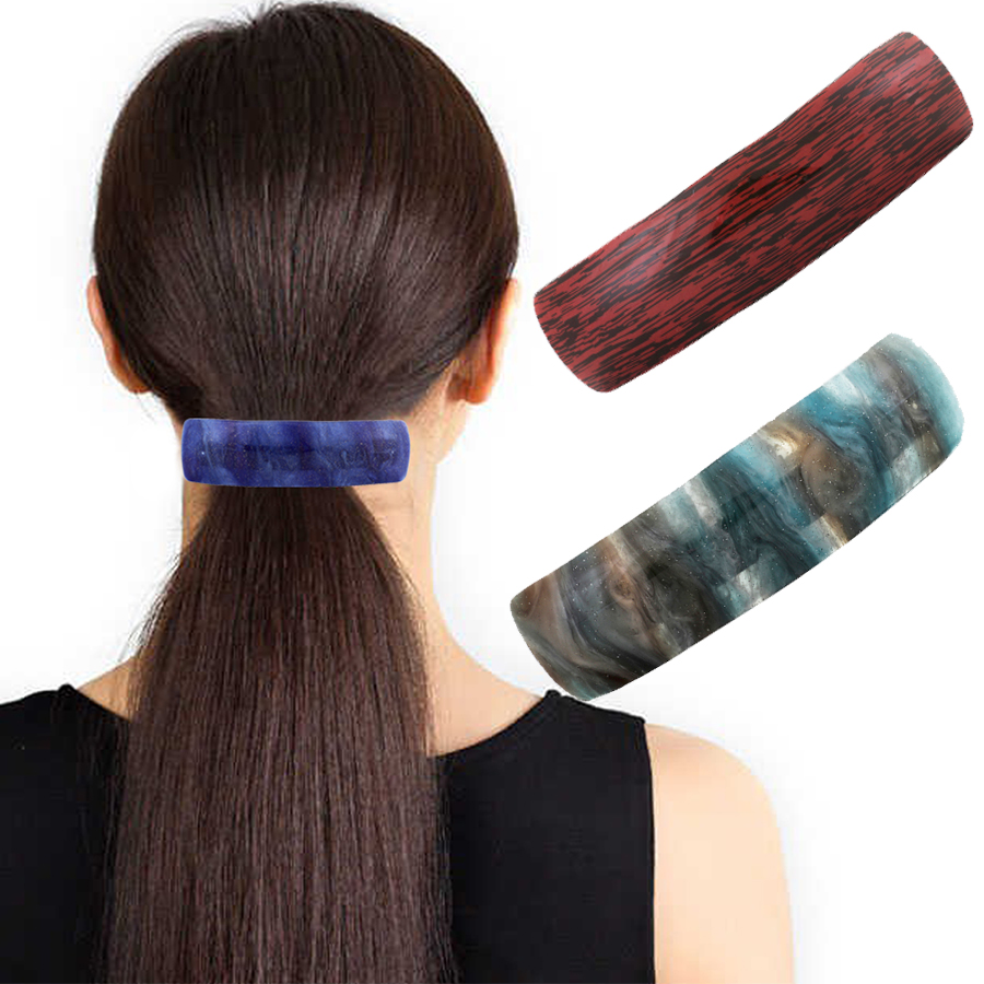 Haimeikang Rectangular Hairgrips Women Acrylic Metal Hair Clips Stripe Barrettes Starry Sky Pattern Hairpins Ponytail Hairclips