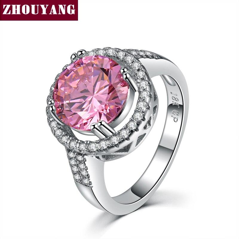 621f57d30047 Plata Color rosa cristal Bijoux moda cóctel anillo Cubic Zirconia joyería  para las mujeres como regalo de amor ZYR600