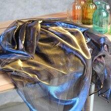 Hyun голубое золото Лазерная симфония полые сетки текстура кружева платье цвет ультра прозрачная дизайнерская ткань