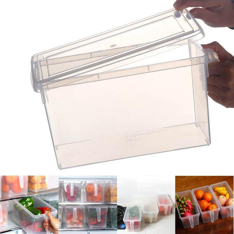 Transparent Plastic Refrigerator Snacks Crisper Grain Tank Food Sealed Storage Box With Handle Kitchen Sorting Container FP8