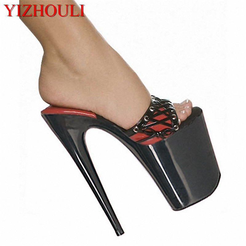 цены Sandals New 20cm Ultra High Heels 8 Inch Lady Fashion Sexy Black Platform Women Slippers
