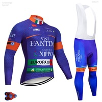 2019 Pro UCI VINI Ciclismo Jersey Conjunto Sportswear Equipe Pro Azul Primavera Outono Longo Set Quick Dry Bicicleta Ropa ciclismo roupa do Desgaste|Kits ciclismo| |  -