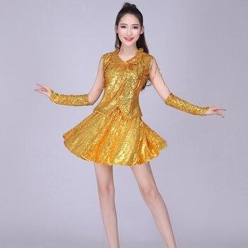 ecc7a6f58 DS Adult Jazz Dance Dress Modern Dance Costume Hip-hop Dancers Clothing  Ballroom Dance Competition Dresses Rave Festival