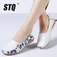 STQ 2016 Women Genuine Leather Shoes Slip On Ballet Women Flats Print Woman Shoes 4 Colors