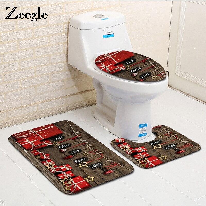 Zeegle 3pieces Christmas Gift Decor Printed Bathroom