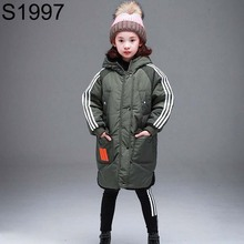 Fashion Hooded Teenage Girls Winter Jackets Cotton Padded Winter Clothes Children Striped Long Warm Thick Parkas Kids Warm Coats