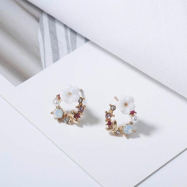 Cute Korean Personality Small Flower Stud Earrings  2