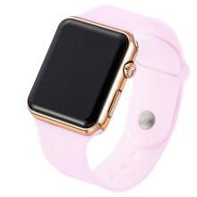 2019 nowy Sport Casual zegarki mężczyźni kobiety Led silikonowy zegarek różowy piękny cyfrowy zegarek sportowy dla dzieci zegar bajan kol saati tanie tanio 20mm Z tworzywa sztucznego 3Bar Prostokąt WoMaGe Odporne na wodę Wyświetlacz led Moda casual Klamra 23cm TMC210 Unisex Watch