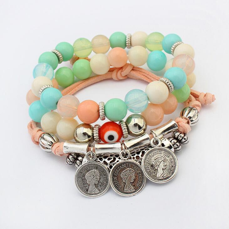 Poem snow Retro Coin Bead Multi layer Jewelry Bracelet