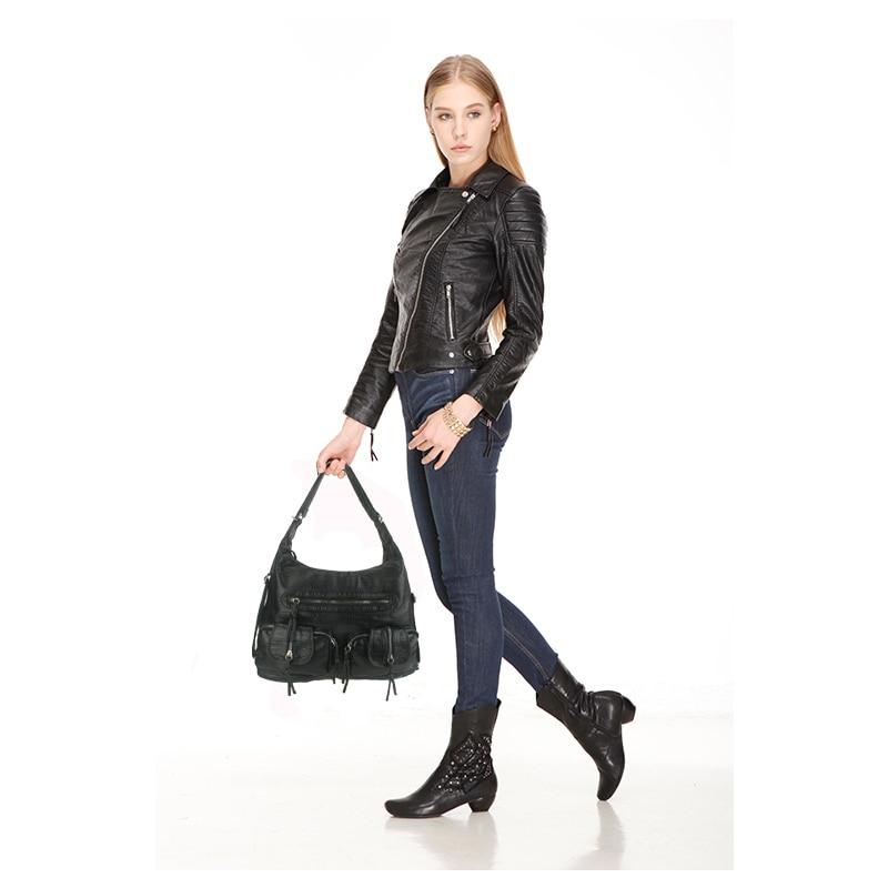 Bolso de hombro negro de las mujeres bolso de moda retro elegante de - Bolsos