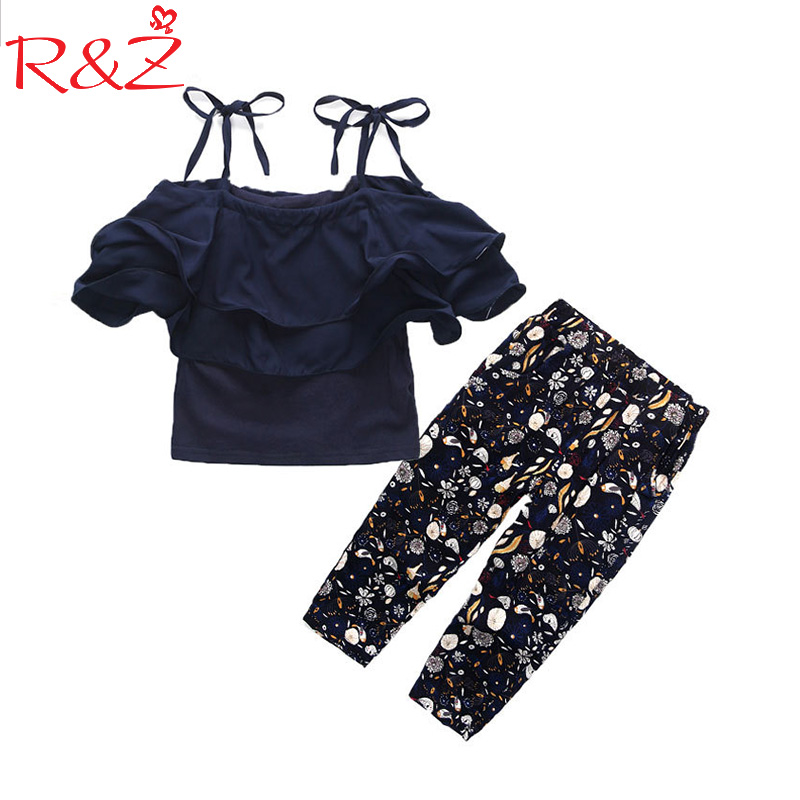 R&ZGirls Sets Clothes Kids Fashion Tops Floral Pants Two Piece Set Children Summer Suit Girls Outfits 7 8 9 10 11 12 13 14 Years