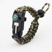 Outdoor Survival Pletené náramky Muži Ženy Paracord náramek Camping Rescue Emergency Rope Bangles Compass Whistle Knife 4 v 1