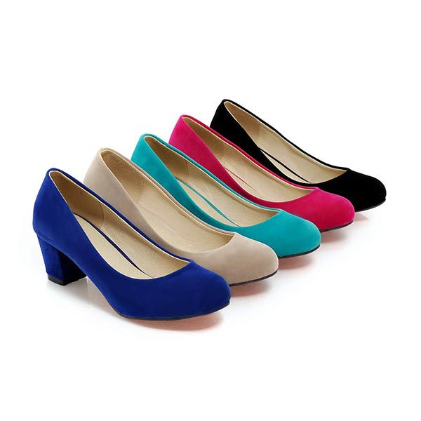 Fashion sexy women Round toe Mid High Heels pumps suede office lady Shallow mouth Single shoes Spring Work Dress Low shoes V618 e hot sale wholesale 2015 new women fashion leopard flat shallow mouth shoes lady round toe shoes