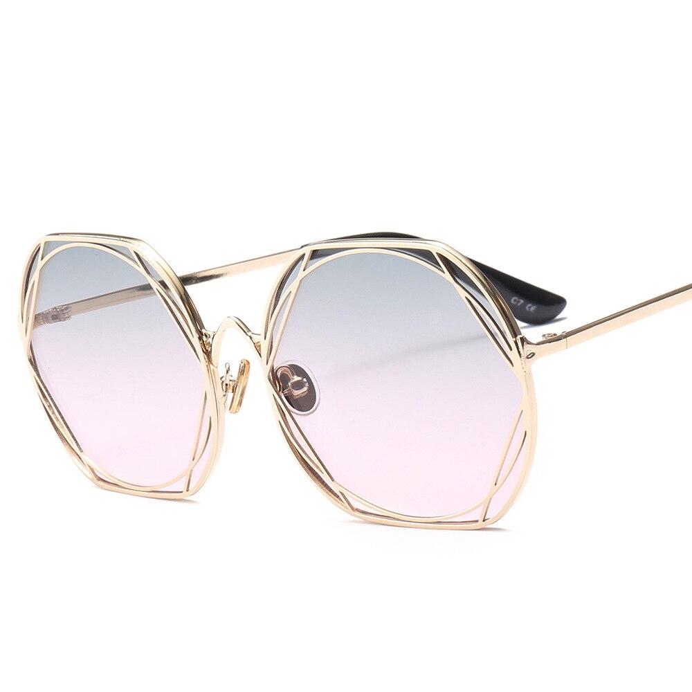 Hot Design Square Sunglasses Hollow Geometric Sun Glasses Metal Frame Fashion