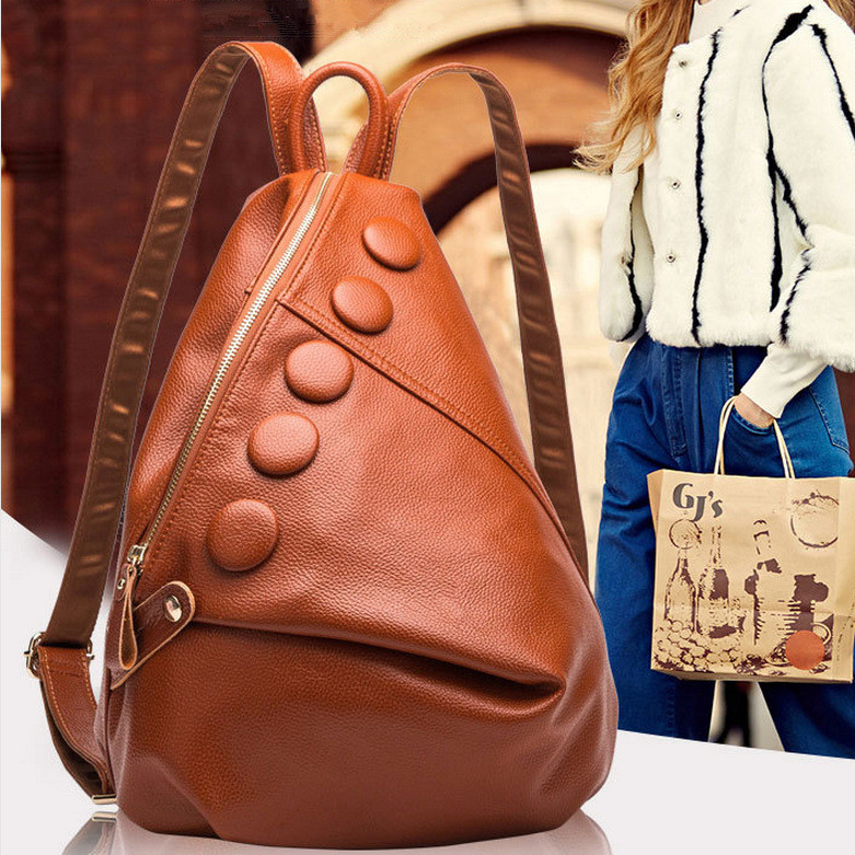 a10ce35a9072 Women s shoulder bag Split leather Litchi pattern backpack female College  wind girls Travel bags students school