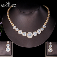 ANGELCZ Noble Arab Evening Jewelry Sets Micro Pave Round Cubic Zirconia Nigerian Golden Party Necklace Earrings For Women AJ159